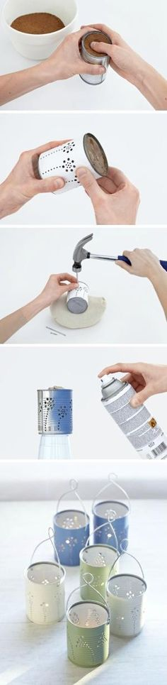 DIY Tin Can Lanterns | Recycle tin cans into beautiful lanterns for just about any holiday or occasion! by Tinemor