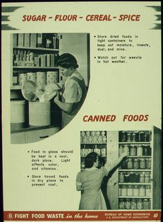 U.S.: Office of War Information Sugar-Flour-Cereal-Spice-Canned Foods poster