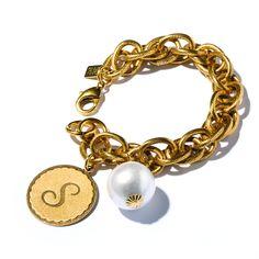 Sorority Gal Cotton Pearl Initial Bracelet