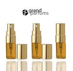 3 AMBER Glass 3ml Fine Mist Atomizer Bottles 3 ml by GrandParfums