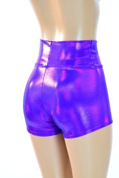 High Waist Purple Metallic Holographic Spandex by CoquetryClothing