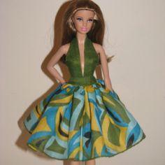 Ooak Barbie doll dress made from vintage Irish linen hankie
