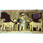 eBay Image 1 Antique Hooked Rug Folk Art Figural Two Dogs Man W Pipe