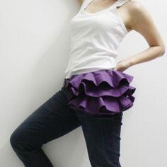 Fanny pack, ruffles waist belt,  apron, hipster, hips bag