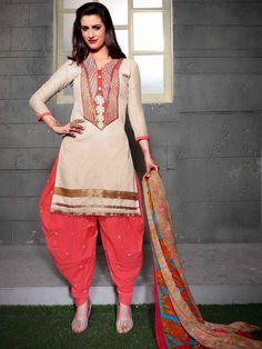 Admirable cotton kameez in beige color designed with zari work. Item Code: SLANB1010C http://www.bharatplaza.com/women/salwar-kameez.html