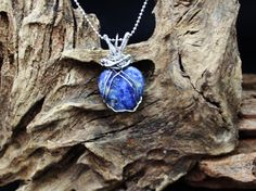 Beautiful Sodolite Heart with Stainless Chain  by carolesart