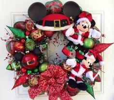 Mickey and Minnie Santa Claus Wreath