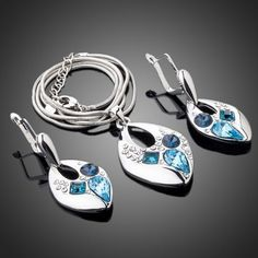 Women's Jewelry Set Blue Necklace & Earrings Platinum Plated Present Woman Gift