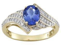 1.15ct Oval Tanzanite With .19ctw Round White Diamonds 10k Yellow Gold Ring