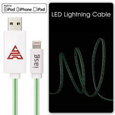 [MFi Certificated] iasg 8Pin Lightning to USB Cable Green Visible Flowing LED EL Light Up Data Sync & Charging Cable Super Fast Transfer Speed up to 480Mb/s for Apple iPhone 5 5c 5s 6 6 plus / iPad, iPad Air, MacBook Pro, MacBook Air, iPod touch 5th generation, iPod nano 7th gen. 1meter White and Green Iasg http://www.amazon.com/dp/B00Y9I4IB6/ref=cm_sw_r_pi_dp_-mt1vb0G5YJJ5