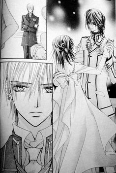 I love the boy's school uniform, both the black and the white one. They use it regularly and on parties (like in this pic). Vampire Knight chapter 17.