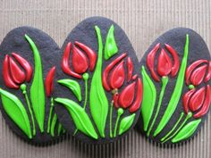 Spring Tulips Easter Cookies - Chocolate Coconut Cookies with Almond Glace Icing.