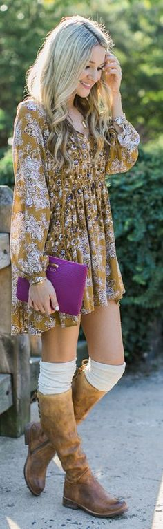 Blonde Expeditions Floral Fall Dress Outfit Inspo