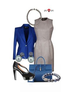 Variant 2: Dazzling Blue + Paloma. These tones are perfect for office looks. To create a work-appropriate outfit, try to have not more than 2 bold pieces combined with neutral ones, like in the photo. Or you can reverse it and have a dark blue statement dress paired with a soft grey blazer. #picvpic, #trends, #fashion, #clothing, #workoutfit, #look, #blue, #grey,