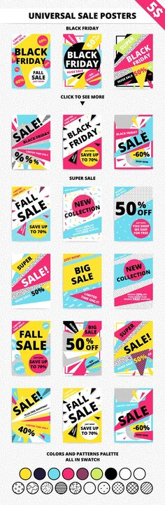 18 universal sale posters + patterns by softulka on @creativemarket