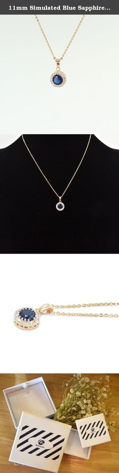 11mm Simulated Blue Sapphire Round Pendant Necklace, 15 Inch Chain. Habeats - stylish quality jewelry for young people Habeats provides a wide selection of fashion jewelry with both affordability and top quality. It carries latest women's jewelry, including studs, earrings, bracelets, bangles, necklaces, rings and sets, and men's jewelry, including bracelets and necklaces. Habeats focuses on sleek fair designs and best quality. All products come with a free habeats gift box.