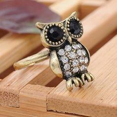 Retro full diamond owl ring , Shop owl necklace,ring,bracelet,jewelry at Gofavor.us