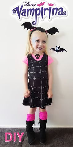How to make an easy NO SEW Disney Vampirina inspired Costume for fancy dress up parties and Halloween Disney Halloween, Toddler Girl Halloween, Clever Halloween Costumes, Family Halloween, Diy Halloween Decorations, Baby Halloween, Disney Costumes For Kids, Spooky Halloween, Creepy