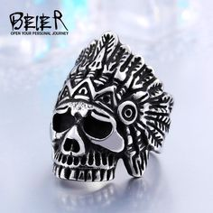 Aliexpress New Indiana Skull Stainless Steel Punk Exaggerated Jewelry USA Fashion Men Ring Cameo Jewelry, Men's Jewelry, Fine Jewelry, Bridal Jewelry, Unique Jewelry, Fashion Bracelets, Fashion Jewelry, Wedding Jewellery Inspiration, Big Men Fashion