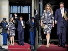 27 April 2015 - King Willem-Alexander and Queen Maxima attend a reception at Royal Palace - dress by Natan, shoes and clutch by L.K.Bennett