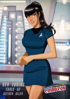 Star Trek by Des Taylor Star Trek Crew, Star Trek Tos, Star Wars, Star Trek Characters, Comic Book Characters, Comic Books, Slave Leia Art, Starfleet Academy, Watch Star Trek