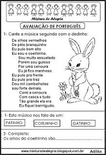 Avaliação de português, 1º bimestre