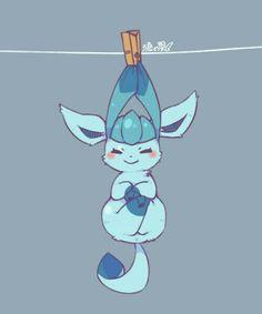 Glaceon, cute, clothespin, clothesline; Pokémon