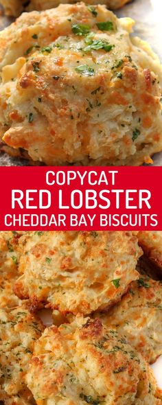 These copycat Red Lobster cheddar bay biscuits are one of my favourite dinner roll recipes! They're buttery, garlicky, cheesy, flaky, and ready in just 25 minutes! This quick biscuit recipe is seriously amazing. This side dish is perfect with just about a Quick Biscuit Recipe, Quick Biscuits, Recipes With Biscuits, Bisquit Recipes, Healthy Biscuits, Lobster Dinner, Lobster Restaurant, Dinner Rolls Recipe, Snacks