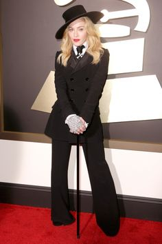 Madonna arrives at the 56th Annual GRAMMY Awards on Jan. 26 in Los Angeles