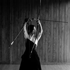 Kyudo. Art of the bow. Distinct from Yabusame (mounted archery) and Kyujutsu (battlefield archery).