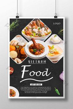Food Graphic Design, Food Menu Design, Food Poster Design, Food Packaging Design, Poster Designs, South Korean Food, Korean Street Food, Vietnamese Recipes, Vietnamese Food