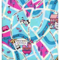 HALF YARD  Candy Cat Candy Creek  Candy Cat Map on by fabricsupply