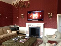 "75"" Control4 display, hidden triad bronze LCR's in fabric wall and Lutron lighting. Nice!!   #liveinstall (via @newlandsolutio)"