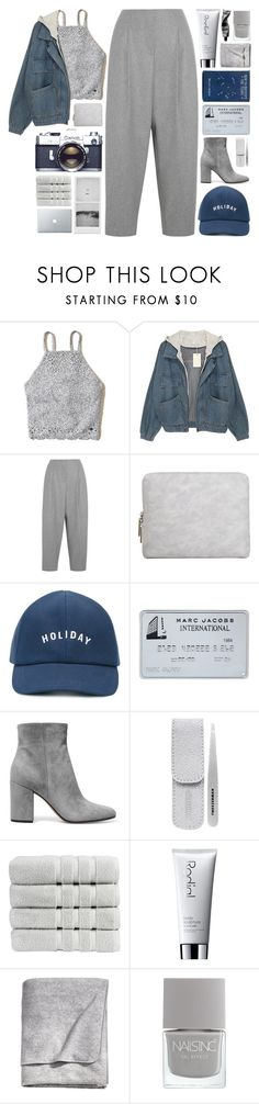 """""""savannah"""" by cnellepoms ❤ liked on Polyvore featuring Hollister Co., Acne Studios, 3.1 Phillip Lim, Holiday, Gianvito Rossi, Tweezerman, Christy, Rodial, Aesop and H&M"""