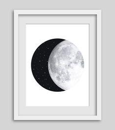Moon Print Moon Art Night Sky Moon and Stars by AshStudioDesign