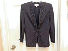 John Meyer Black Beaded Lapel Formal Evening Jacket 1 Button Blazer Coat Size 8 #JohnMeyerofNorwich #Blazer #Evening #Classy