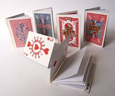 playing card notebooks - these are so cute.  She used cricut (spelling) for additional design on front of books.  She used white duct tape on the inside and clear duct tape on the outside to make the bindings.  Never heard of clear duct tape - who knew!