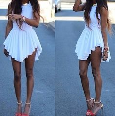 Fashion Frenzzie - Asymmetrical High Sides Dress - White, $45.00 (http://www.fashionfrenzzie.com/asymmetrical-high-sides-dress-white/)