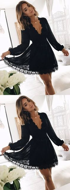 1d486c4f1e A-Line Deep V-Neck Long Sleeves Little Black Lace Homecoming Dress on  Storenvy