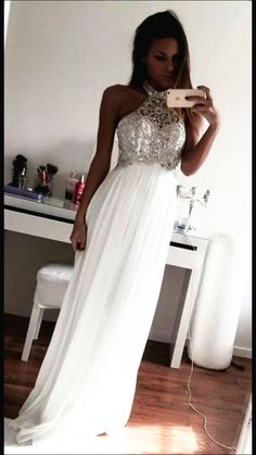 Bg391 New Arrival White Prom Dress,Chiffon Prom Dresses,Halter