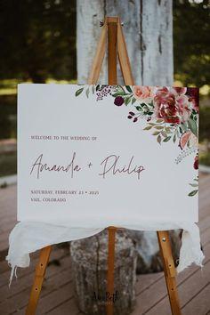Burgundy Wedding Welcome Sign Template - Burgundy Party Theme #burgundywedding #maroonwedding #merlotwedding #marsalawedding #burgundyflorals #maroon #burgundy #wedding #weddinginspo #bridetobe #weddingdecor #bridalshowerdecor #burgundybridal #template #printable #diy #editable #personalized #winterwedding #fallwedding #autumnwedding #weddingwelcomesign #welcomesign #largewelcomesign