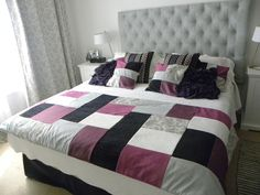 Piecera en tonos morados, lilas, negros y grises + 2 cojines de regalo $61.900 (pesos chilenos) Bella Mia Diseños #design #room #style @Nancy Casas Quilt Bedding, Bedding Sets, Ideas Hogar, Bed Runner, Bargello, Bed Spreads, Bed Sheets, Quilts, Blanket