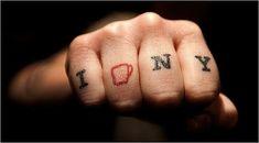 I Coffee NY knuckle tattoo > I <3 NY T-shirt. | 23 Tattoos For Coffee Lovers