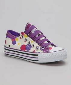 Look at this #zulilyfind! White & Purple Polka Dot Sneaker by All Sports #zulilyfinds