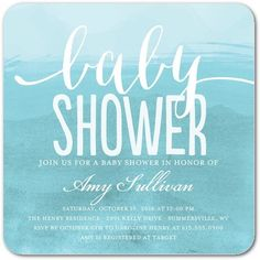Graceful Brushstroke - Baby Shower Invitations - Ann Kelle - Paradise - Blue : Front
