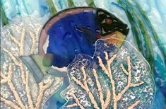 "Contemporary: Fish and Coral by Dr. Saulius (SJ) Jankauskas - 6"" x 8"" Three layer fused glass panel with NT Colors, MUD and frit"