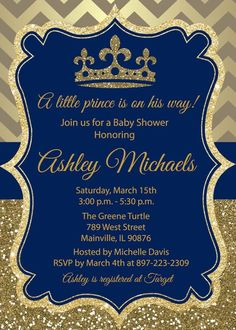 Royal themed baby shower invite for a prince #royalthemedshower #princebabyshower #royalblueandgold