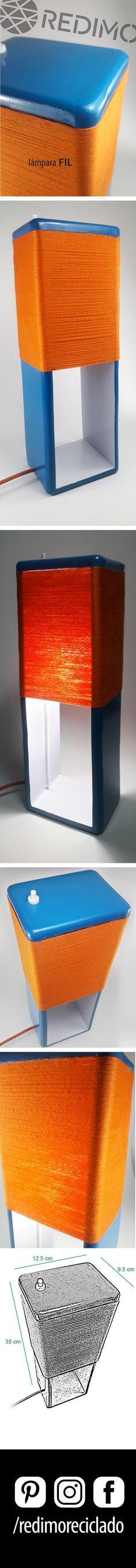 Lampara FIL Realizada con maderas y hilo reciclado. Ideal como velador o luz de recepción.