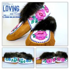 #Beautiful pair of #Moose Hide #moccasin slippers made by a #Tlicho from #Behchoko, #NT.