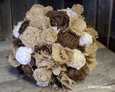 Burlap and Lace Bride's Wedding Bouquet - Super Creative!